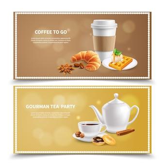 Banners realistas de café da manhã