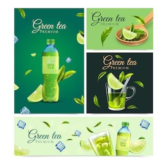 Banners realistas de chá verde premium com vidro de garrafa de plástico, folhas verdes e rodelas de limão