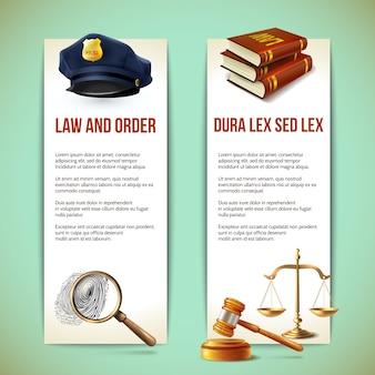 Banners realistas de justiça Vetor Premium
