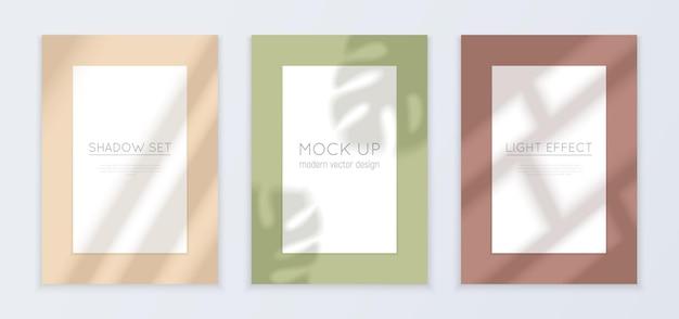 Banners realistas de luz e sombra de janela com ilustração isolada de efeito de luz