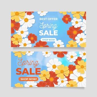 Banners realistas de primavera com flores coloridas