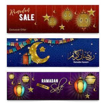 Banners realistas de ramadan kareem