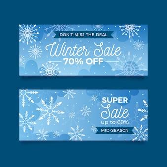 Banners realistas de venda de inverno