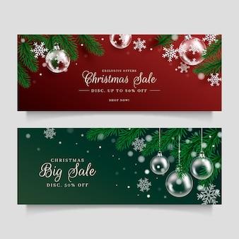 Banners realistas de venda de natal