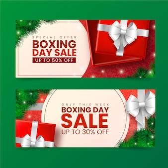 Banners realistas de vendas de boxing day