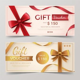 Banners realistas de vouchers de presente