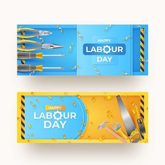 Banners realistas do dia do trabalho