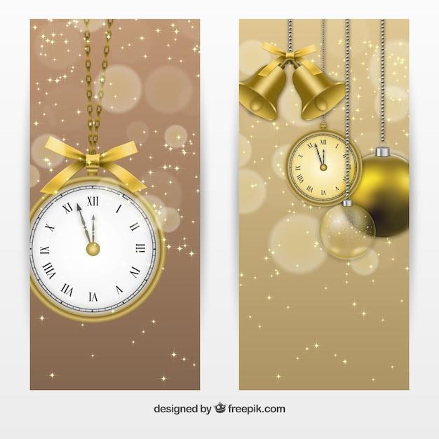 Banners relógio realistas