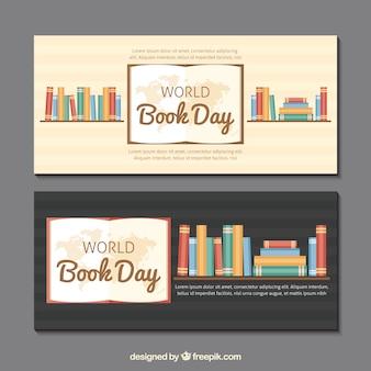 Banners reservar prateleiras com livros em design plano