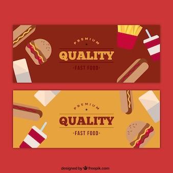 Banners restaurante com cachorros-quentes e hambúrgueres