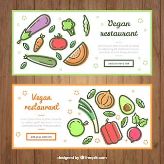 Banners restaurante com legumes