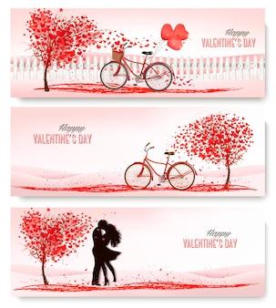 Banners retrô de férias. árvores dos namorados com folhas em forma de coração.