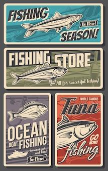 Banners retrô de pesca, carapau de vetor, dourada, anchova e atum. loja de equipamentos de pescador. pesca em barco oceânico, varas ou girando com ganchos e flutuadores compre um conjunto de cartões vintage
