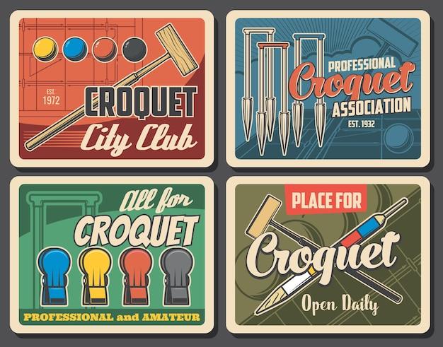 Banners retrô do croquet jogo esporte. macete e bolas de madeira, aros ou postigos e cavilhas.