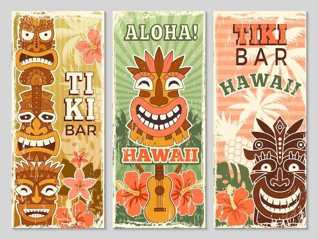 Banners retrô do havaí. aloha turismo verão aventura dança festa em tiki bar ilustrações de máscaras tribais