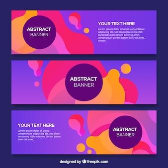 Banners roxos com formas abstratas de cores