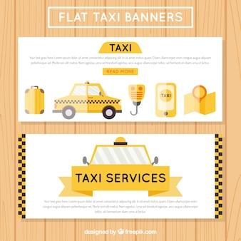 Banners táxi úteis, estilo plano