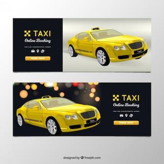 Banners taxista com táxi realista