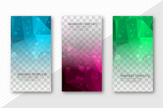 Banners transparentes de polígono abstrata definir vetor de modelo