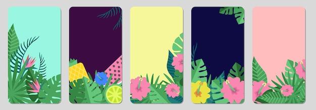 Banners tropicais. folhas exóticas, modelo de histórias de mídia social de frutas.