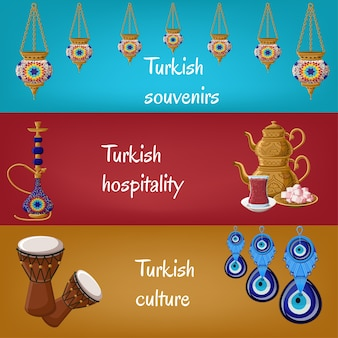 Banners turcos com lanternas, cachimbo de água, bule de chá, chá de vidro, locum, tambores e boncuk.