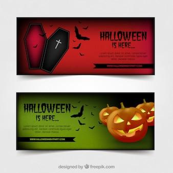 Banners verdes e vermelhos de halloween
