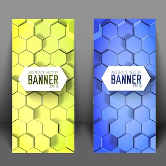 Banners verticais científicos geométricos com hexágonos azuis e verdes