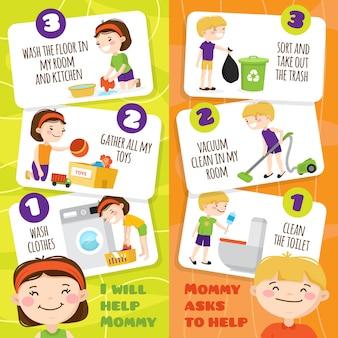 Banners verticais coloridas com sorrindo crianças limpando salas e ajudando sua mãe em casa
