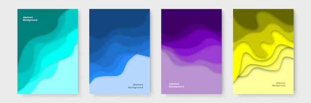 Banners verticais com fundo abstrato 3d e formas de corte de papel. layout de desenho vetorial para apresentações de negócios, folhetos, pôsteres e convites