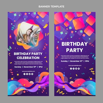 Banners verticais com gradiente colorido de aniversário