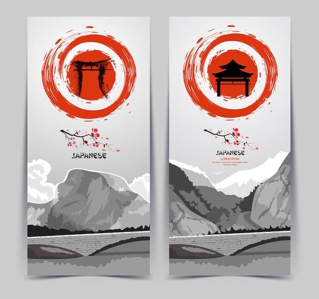 Banners verticais com montanhas e sol nascente