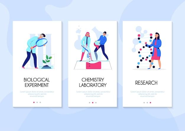 Banners verticais com pessoas fazendo pesquisas e realizando experimentos