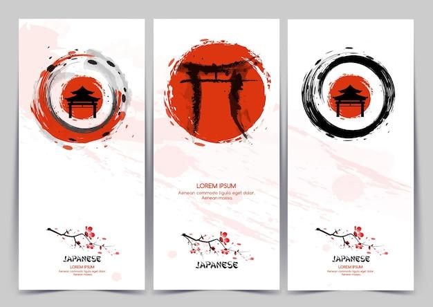 Banners verticais com pintura tradicional japonesa