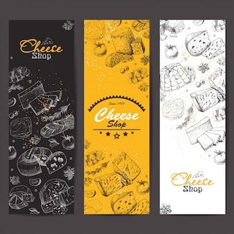 Banners verticais com queijos