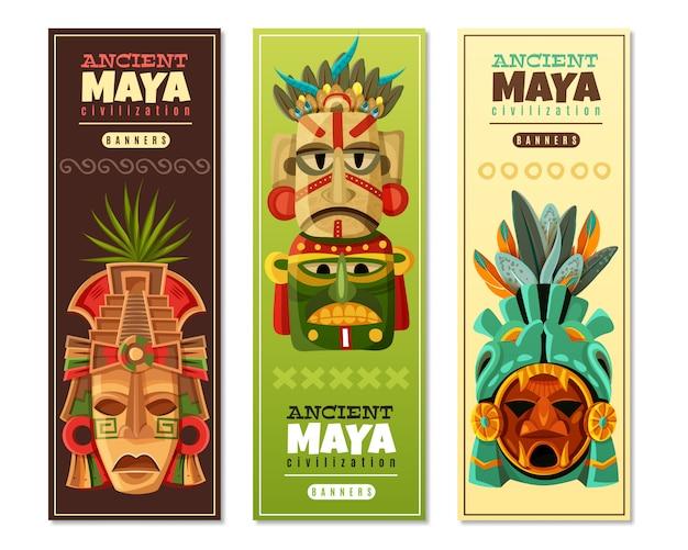 Banners verticais da civilização maia