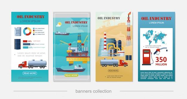 Banners verticais da indústria de petróleo plana com plataforma de perfuração marítima navio tanque torre refinaria canister barril bomba de combustível caminhão tanque