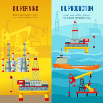 Banners verticais da indústria de petróleo
