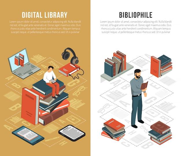 Banners verticais da rede de bibliotecas