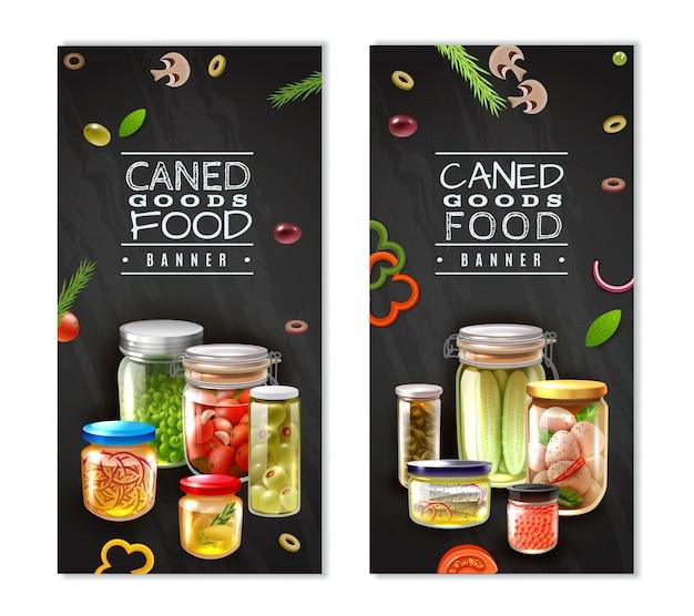 Banners verticais de alimentos enlatados