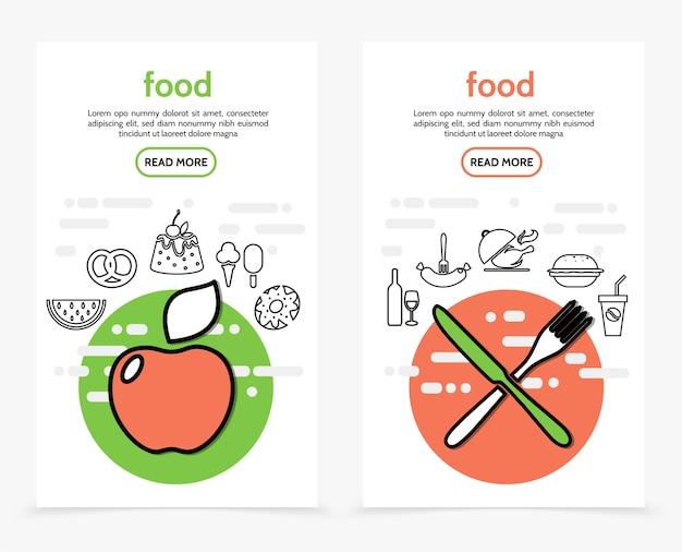 Banners verticais de alimentos