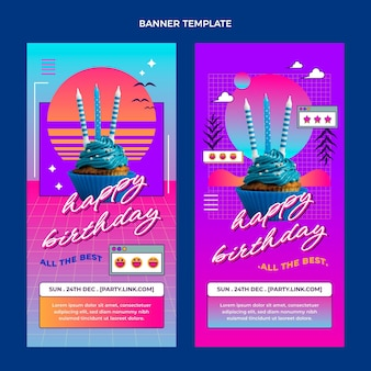 Banners verticais de aniversário de gradiente retro vaporwave