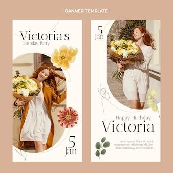 Banners verticais de aniversário desenhados à mão em aquarela