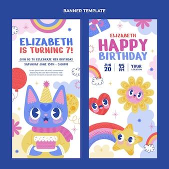 Banners verticais de aniversário desenhados à mão