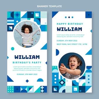 Banners verticais de aniversário em mosaico de design plano