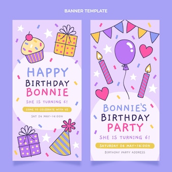 Banners verticais de aniversário infantil desenhados à mão