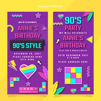 Banners verticais de aniversário nostálgico dos anos 90