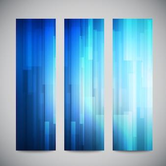 Banners verticais de baixa poli azul conjunto com linhas abstratas poligonais. abstrato poligonal brilhante.