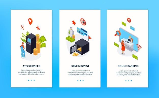 Banners verticais de bancos configuram publicidade de banco on-line atm seguro e ilustração de serviços de investimento