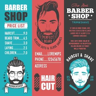 Banners verticais de barbearia