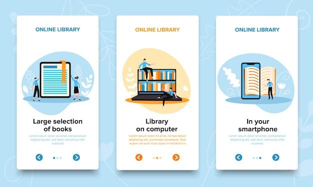 Banners verticais de biblioteca online configurados com botões de mudança de página de texto editável com setas